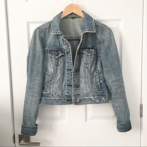 American Eagle Light Wash Denim Cropped Jacket